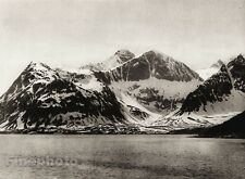 1924 Vintage SCANDINAVIA Photo Gravure Norway Nordland Snow Mountain Landscape