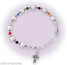 Sterling silver 1st Holy Communion Bracelet w/ Swarovski Crystals & Celtic Cross