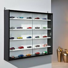 Glass Wall Display Storage Cabinet Case Shelves Unit Collectors Wood Black White