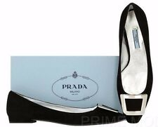 NEW PRADA LADIES BLACK SUEDE LEATHER LOGO BALLET FLAT SHOES 38.5/US 8.5