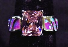 Sterling 925 Silver SF Size 7 Ring Pink Lab Fire Opal & 9*7mm Pink Sapphire