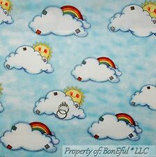 BonEful Fabric FQ Cotton Quilt Blue White Cloud Sun*Shine Baby Noahs Ark Rainbow