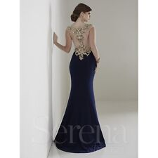 House of Wu Navy Illusion High Embellished Neckline Prom Evening Dress Sz 8 NWT