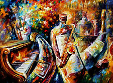 "Bottle Jazz —  Oil Painting On Canvas By Leonid Afremov. Size: 40""x30"" Abstract"