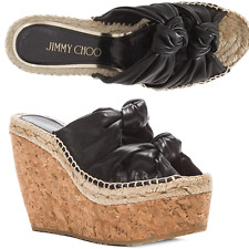 Jimmy Choo Priory Knotted Double Band Wedge Slingback Cork Sandals 38- 8