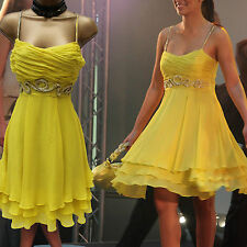 Karen Millen Celebrity 50's Yellow Silk Beaded Floaty Cocktail Prom Dress 10 UK
