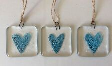 Fused Glass Blue Heart Love Token Sun Catcher Tile Hanging Valentines Gift