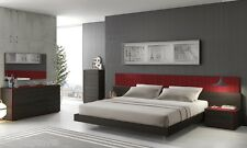 Premium 5 Piece King Size Bedroom Set Red Lacquer Finish Built-In LED Lights