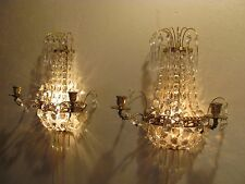 Antique/Vintage Brass Wall Sconce Candle Holder Hanging Lights W/ Glass Prisms