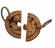 Valentines Day Gift World of Two Half's Keyring  Engraved : Couples Gift