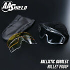 Bullet Proof Ballistic Goggles Mask Military Tactical Assault Pack 3 Lens Black