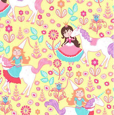 By 1/2 Yard Unicorn Princess Yellow Michael Miller Fabric ~ Horse Girl Flowers