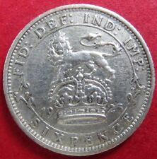 "Vintage 1925 U.K. SIX PENCE SILVER COIN, King George V ""AU"" Condition, NICE COIN"