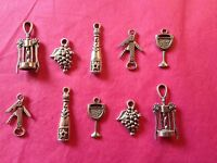 Tibetan Silver Wine Lovers Theme - mixed pack of charms - 10 per pack
