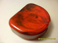 Red Black Designer Container Case for One Denture Retainer |w  Sticker and Stone