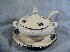 Vintage Maurice Of California Tureen, Soup Tureen W/ Ladle, Flower Motif