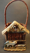 "Pig Pen Handled Basket Wicker Cabin Home Decor Country Storage 6"" x 5"""