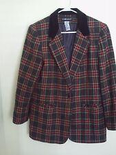Women's Ladies Sag harbor multi color Plaid  Blazer jacket Size 12