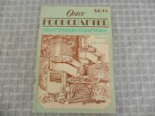 Vtg OSTER FOOD CRAFTER Manual Instructions Recipe Book (19 Pages) Food Processor