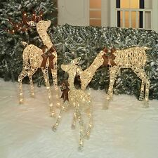 OUTDOOR LIGHTED PRE LIT 3-Pc Deer Family DISPLAY SCENE CHRISTMAS YARD ART DECOR