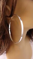 LARGE 3 INCH HOOP EARRINGS SILVER TONE HOOP EARRINGS CLASSIC HOOP LINED