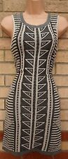 RIVER ISLAND TRIBAL AZTEC GREY SILVER GLITTER ETHNIC BODYCON JUMPER TUBE DRESS 8