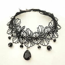 Gothic Victorian Crystal Tassel Tattoo Choker Necklace Black Lace Collar Pendant