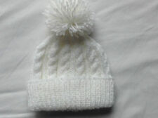 HAND KNIT ARAN BEANIE BOBBLE HAT premature/newborn size (early, tiny baby) - 24m