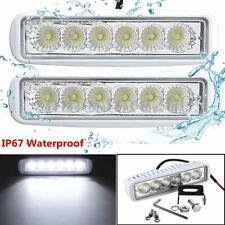 2X 12V 6 LED Marine Spreader Flood Work Light For Boat Yacht VAN RV Truck Car