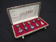 Vintage Peking Jewelry Miniature Cloisonne Vase Necklace Collection in Case