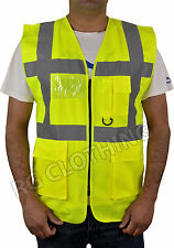 HiVis High Visibility Executive Work/Safety Zip Vest Pocket waistcoat Size S-4XL