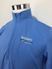 Discovery Channel Men's Small 1/4 Zip Pullover Blue Embroidered Vintage 90s