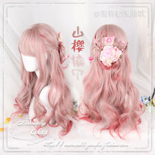 Japanese Sweet Lolita Harajuku Pink Red Gradient Cosplay Curly Wig Princess Cute