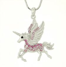 "UNICORN W Swarovski Crystal Flying Pegasus Horse Gift Pink Necklace 18"" Chain"