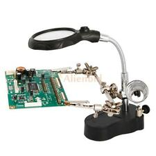 3.5x 12X Helping Hand Clip Magnifier Magnifying Glass w/ LED Light for Soldering