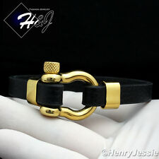 "8""MEN WOMEN Stainless Steel 10mm Black/Gold Horseshoe Design Leather Bracelet*84"
