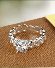 STAMPED 925 Silver CZ CRYSTAL Ring Q/8 LADY  WEDDIND CHRISTMAS LOVER GIFT UK