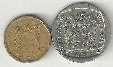 2 DIFFERENT COINS from SOUTH AFRICA - 50 CENTS & 1 RAND (BOTH DATING 2007)