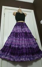 Ladies Cotton Tie&Dye Skirt Crochet&Lace Lined Purple&Lilac 5 tier Ethnic 14-22