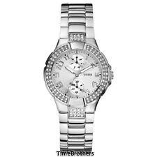 NEW GUESS WATCH for Women * Silver Tone *STATUS IN THE ROUND* Day/Date U12003L1