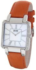 BOSS BY HUGO BOSS LADIES SQUARE WHITE PEARL FACE CRYSTALS BROWN LEATHER WATCH