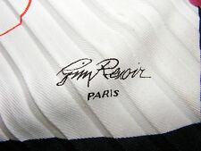 "Jimy Renoir Paris white frilly long scarf 7"" x 55""  vintage"