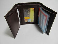 New Trifold Genuine Leather Brown Wallet Credit Card Holder/One ID Window #518b
