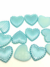 NEW 50PCS Charm Resin Stripe DIY heart Scrapbook Craft 15MM Flatback Sky Blue#5