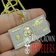 MENS YELLOW GOLD STERLING SILVER HUNDRED CASH MONEY PENDANT CHARM