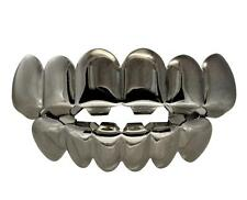 Grillz Set Top Bottom 6 Teeth w Molds Gun Metal Finish Joker Caps Hip Hop Grills