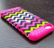 iPod Touch 5th 6th Gen - HARD & SOFT RUBBER HYBRID CASE COVER PINK GREEN CHEVRON