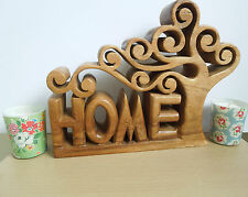 Hand carved natural wooden tree of life Home letters sign Home Family decor gift