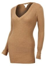 New Women ladies gorgeous knitted camel v neck long jumper top size 16