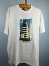 VTG Mens XL West Quoddy Head Maine Light House T Shirt Screen Stars USPS Stamp